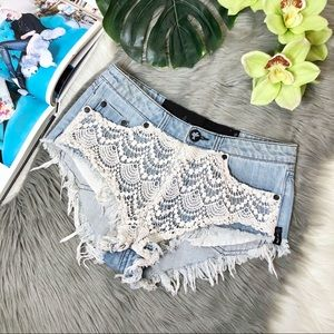 One Teaspoon Rocco Lace Distressed Denim Shorts 24